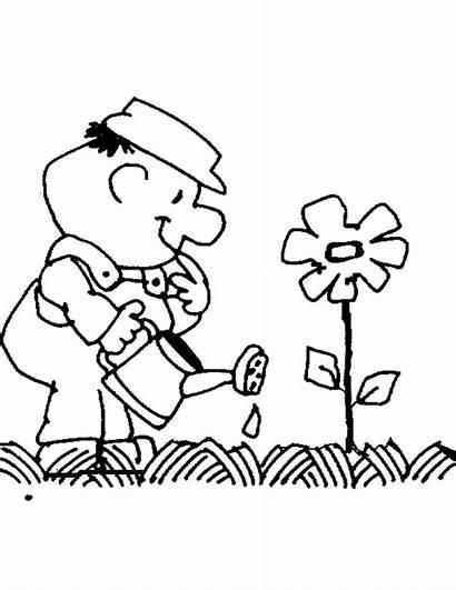 Growing Things Flower Coloring Drawing Watering Flowers