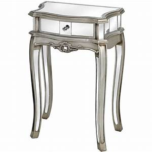 argente mirrored 1 drawer lamp table With floor lamp with table and drawer