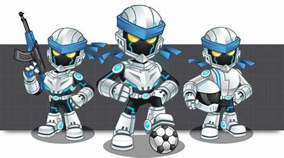 Mascot Cool Robots Android Gamer Cartoon Humanoid