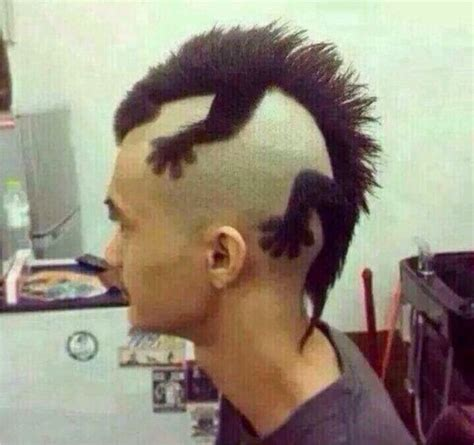 punk hairstyles for men lizard on head comparing punk