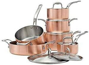 lagostina artiste clad copper stainless cookware set  piece fast shipping ebay