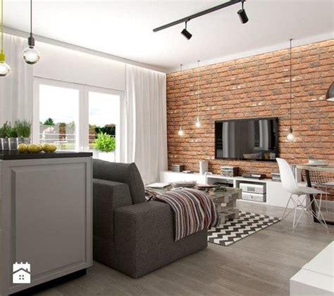 Wystrój Wntrz Salon by Aranżacje Wnętrz Salon Industrialne Mieszkanie Mały