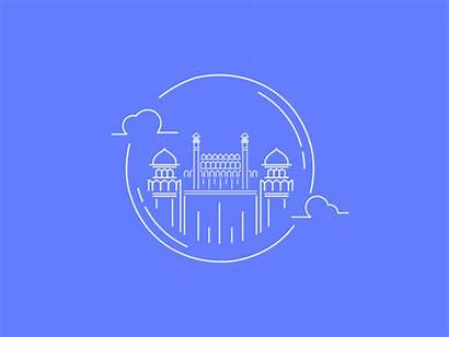 India Delhi Animated Monument Gifs Giphy Fort