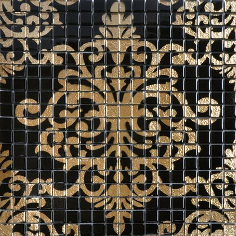 gold and black tile mural puzzle mosaic glass wall murals