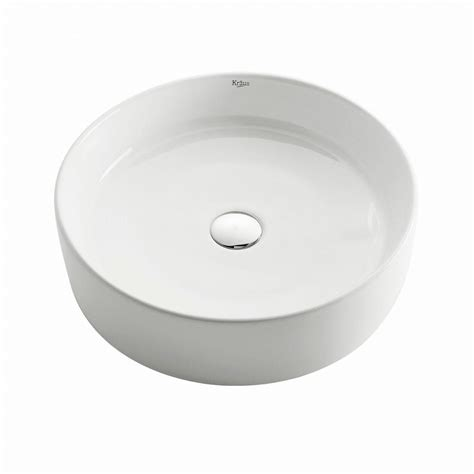 home depot kraus sink kraus round ceramic vessel bathroom sink in white kcv 140