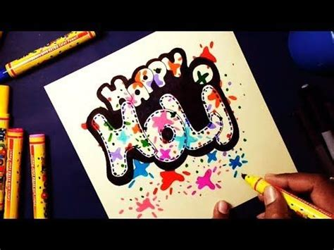 easy happy holi drawing  kids  style