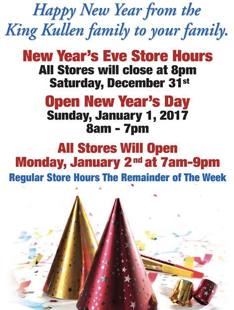 New Year's Store Hours - King Kullen