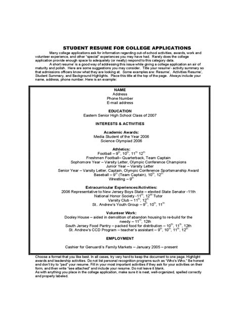 Exle Resume Apply by College Resume Template 5 Free Templates In Pdf Word