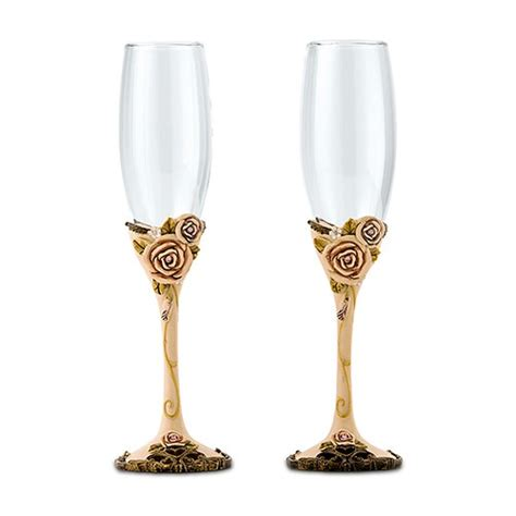 Vintage Rose Wedding Champagne Glasses The Knot Shop