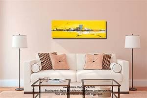 tableau jaune grand format panoramique xxl art abstrait With tableau decoration salle a manger