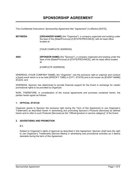 sponsorship agreement template word   business