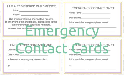 emergency contact cards mindingkids