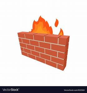 Firewall Icon In Cartoon Style Royalty Free Vector Image