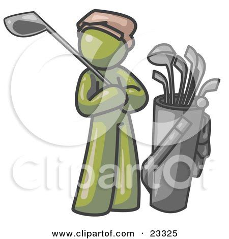 Clipart Illustration Of An Olive Green Man Standing By His