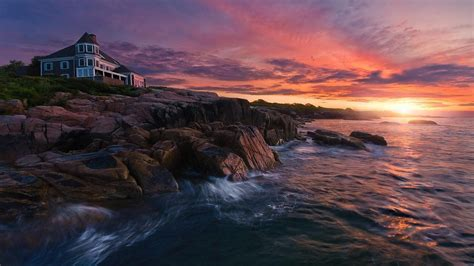 Sunset Over House On Rocky Coast Hd Wallpaper Background