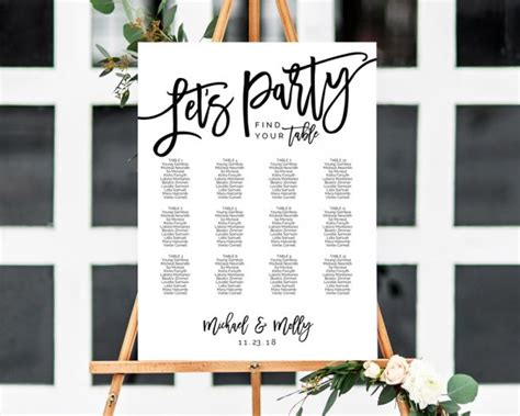 lets party seating chart wedding seating chart seating