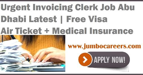 invoicing clerk abu dhabi free visa and air