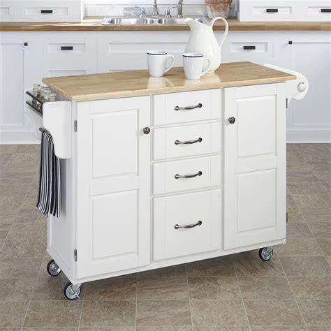 country kitchen islands with seating shop home styles white scandinavian kitchen cart at lowes com