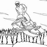 Coloring Snowmobile Snowboarding Pages Winter Cool Action Getdrawings sketch template