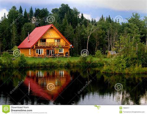 log cabin   lake stock image image  woods house