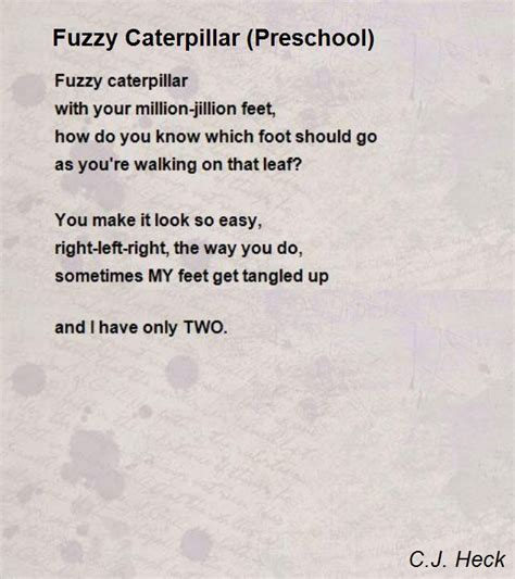 caterpillar song preschool fuzzy caterpillar preschool poem by c j heck poem 395