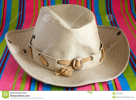 cowboy hat  beach mat stock image image  colored