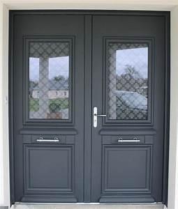 porte entree gris anthracite dootdadoocom idees de With porte d entrée pvc avec carrelage bleu salle de bain