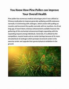 You Know How Pine Pollen Can Improve Your Overall Health By Canadianpine Pollen