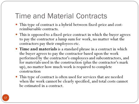 time and materials contract project procurement management ppt
