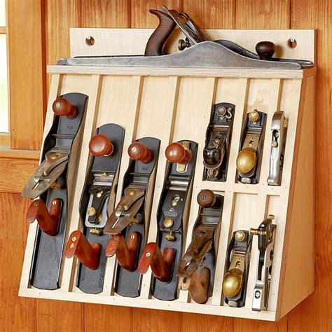 hand plane rack woodworking plan workshop jigs shop