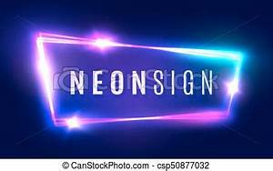 Night club neon sign blank 3d retro light signboard with