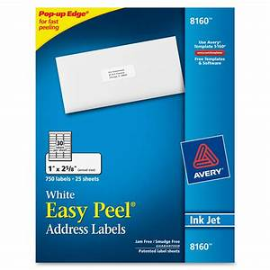avery 8160 easy peel white inkjet mailing labels 1quot width With avery 8 up labels