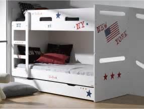 lits superpos 233 s pour enfants feroe blanc avec ses deux matelas