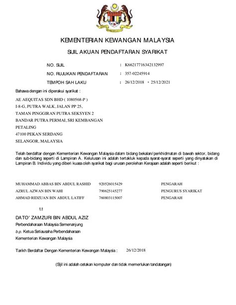 Licenses, Certificates & Registrations – AEquitas Sdn. Bhd