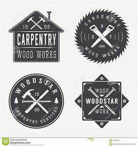 Set Of Vintage Carpentry And Mechanic Labels, Emblems And