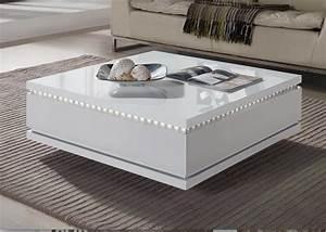 Ikea Table Basse Blanche : table basse carr e tiroirs laqu blanc led bozy ~ Teatrodelosmanantiales.com Idées de Décoration