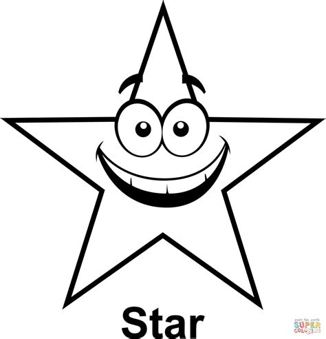 star  cartoon face coloring page  printable