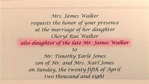 how to honor a deceased parent in a wedding program With wedding invitation etiquette one parent deceased