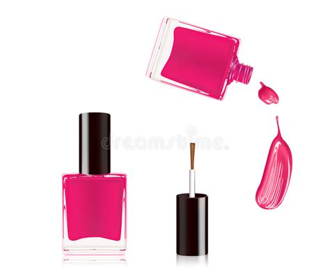 Pink Nail Polish In Bottle With The Bottle Lid On Top And