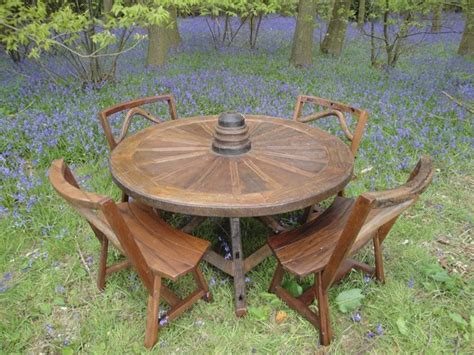 reclaimed teak  wheel set rustic outdoor dining