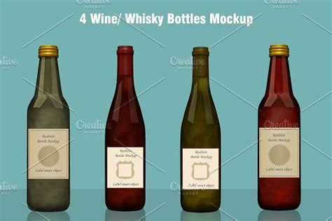 Folded, on the garment hanger and in the box. Whisky / Wine Bottle Mockup