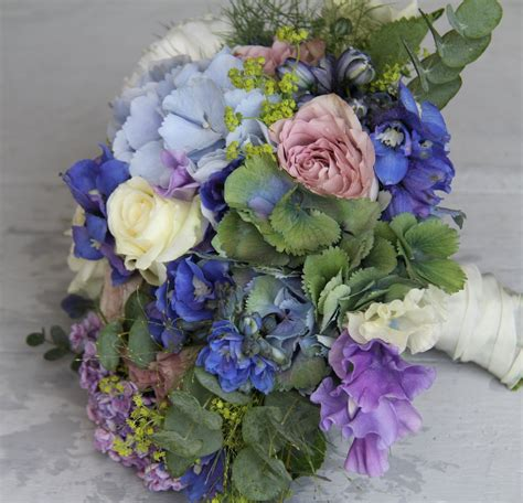 The Flower Magician Blue And Lavender Wedding Bouquet