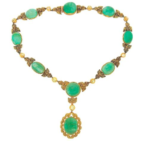 mario buccellati diamond emerald  yellow gold necklace