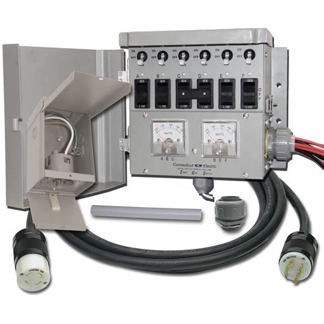 connecticut electric 174 6 circuit 30 manual transfer switch kit with power inlet box 210807