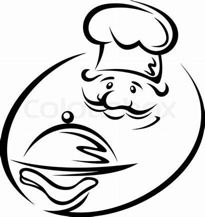 Chef Koch Vektor Tray Kok Tablett Restaurant