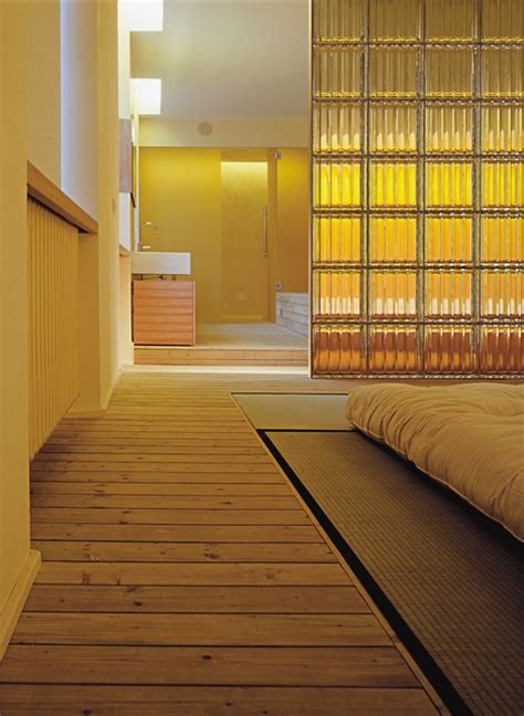bedroom partition wall  textured pattern glass blocks