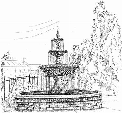 Fountain Water Drawing Hedrick Barney Sketch Fountains