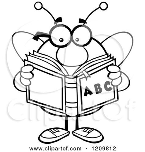 11892 student reading clipart black and white of a black and white bee student reading an