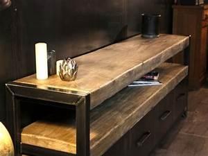 Meuble Bois Brut : buffet industriel meuble de style industriel bois et acier sur mesure micheli design ~ Teatrodelosmanantiales.com Idées de Décoration
