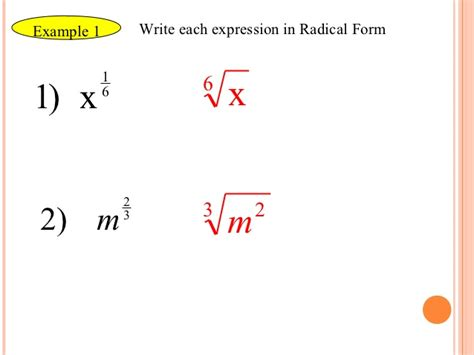 how to write an expression in exponential form rational exponents